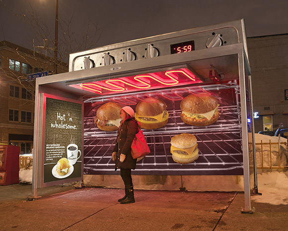 Toasty Bus Shelter Ad makes you warm while you