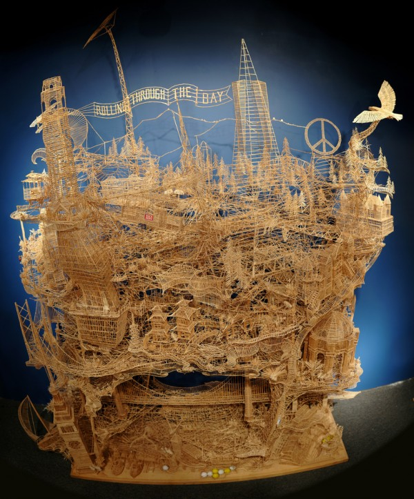 Astonishing Toothpick Sculdpture Rolling through the Bay by Scott Weaver [Video]